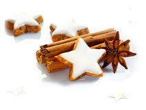Christmas spices and stars Royalty Free Stock Image