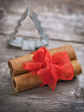 Christmas spices  on wooden board Royalty Free Stock Photos