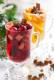 Christmas spicy mulled wine, apple cider and gingerbread cookies Royalty Free Stock Photography