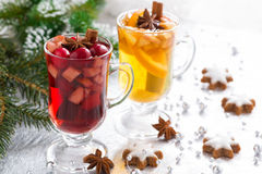 Christmas spicy mulled wine, apple cider and gingerbread cookies Stock Images