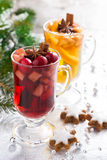 Christmas spicy mulled wine, apple cider and gingerbread cookies Royalty Free Stock Photo