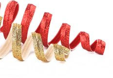 Christmas spiral toy red and golden. Royalty Free Stock Images