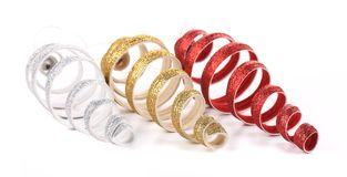 Christmas spiral toy red silver golden. Stock Photos