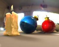 Christmas Spirit. Christmas balls with big candle royalty free stock photo