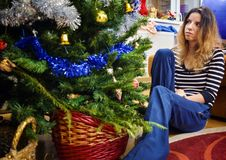 Christmas spirit. Blonde model enjoying the Christmas spirit stock image