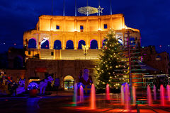 Christmas spirit at Colosseum replica by night. The yard in the holiday resort Europa Park Rust, Germany, with its replica of the Colosseum - decorative and Royalty Free Stock Photo