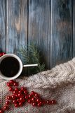 Christmas spirit holiday decor knit red bead cup Stock Photos