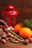 Christmas spirit: nuts, tangerines, Christmas tree, nuts, a flashlight Stock Photos