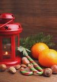 Christmas spirit: nuts, tangerines, Christmas tree, nuts, a flashlight Stock Image
