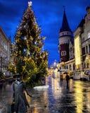 Christmas time in Celje, Slovenia. One Christmas night in Celje. Rainy but with Christmas spirit Stock Photos