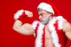 Christmas. Sport, activity. Sexy Santa Claus . Young muscular man wearing Santa Claus hat demonstrate his muscles. Isolated on red background Stock Photography