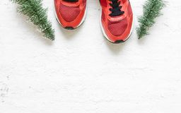 Christmas sport shoes flat lay composition with sneakers, christmas tree on grunge white wood background. Merry Christmas and stock photography