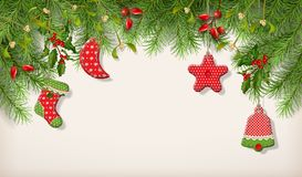 Christmas Spruce Border. Christmas vector spruce border. Branches of fir tree with hanging textile handmade decorations Royalty Free Stock Photo