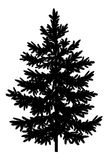 Christmas spruce fir tree silhouette. Christmas spruce fir tree black silhouette isolated on white background. Vector Stock Photos