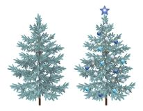 Christmas spruce fir trees with ornaments. Christmas Holiday Spruce Fir Trees, Natural and with Ornaments, Balls and Star  on White Background. Eps10, Contains Royalty Free Stock Photo