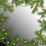 Christmas Spruce Frame. Spruce vector frame. Christmas border. Branches of fir tree with decoration. Transparent background stock illustration