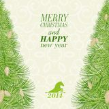 Christmas spruce. With pinecone. Vector illustration Royalty Free Stock Images