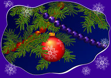 Christmas  spruce twig with the ball an Stock Photography