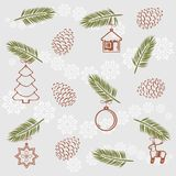 Christmas spruces twig with toys. Vintage pattern for wrapping. Illustration Stock Images