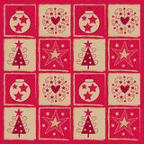 Christmas square. Red and gold christmas square background royalty free illustration