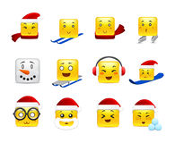 Christmas square anime stickers Royalty Free Stock Photography