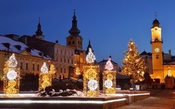 Christmas square in Banska Bystrica Royalty Free Stock Image