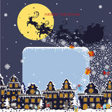 Christmas square card.Santa Claus coming to City Royalty Free Stock Photography