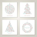Christmas square cards design collection. Vector illustration. New year greetings. Christmas icons and symbols formed abstract shapes. Vintage style vector illustration