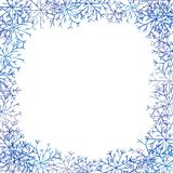 Christmas square frame with blue snowflakes. Winter mood. Christmas square frame with blue snowflakes royalty free illustration
