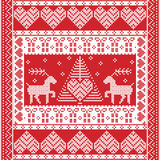 Christmas square  pattern in cross stitch style with Xmas tree, reindeer, hearts. Scandinavian style and Nordic culture inspired Christmas and festive winter Stock Photography