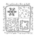 Christmas Square vector. Black and white Christmas vector Illustration with stars and snowflakes Royalty Free Stock Photos