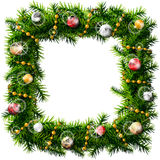 Christmas square wreath with decorative beads and balls. Decorated wreath of pine branches isolated on white background. Qualitative vector (EPS-10) illustration Stock Photo