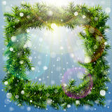 Christmas square wreath with overhead lighting and snowfall. Wreath of pine branches without decoration. Qualitative vector (EPS-10) illustration for new year's Stock Photos