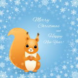 Christmas squirrel on blue, snowflakes frame. Vector illustration of a red squirrel sitting and holding a hazelnut. Light blue background with a frame made of Royalty Free Stock Photos