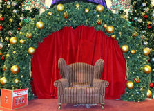 Christmas stage. With a chair and santa mail box royalty free stock image