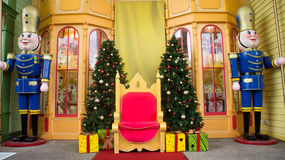 Christmas stage. A landscape view of a Christmas stage used to photograph Santa Claus with other people. The stage has Christmas decorations on it like the Royalty Free Stock Photography