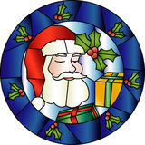 Christmas stained glass decoration with Santa Royalty Free Stock Photos
