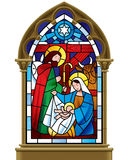 Christmas stained glass window in gothic frame vector illustration