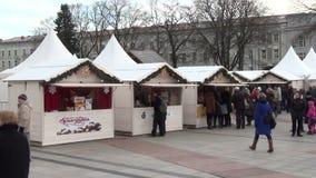 Christmas stall city fair stock video footage