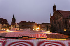 Christmas stalls on Hauptmarkt Stock Photography