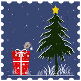 Christmas stamp. Christmas postcard in shape of stamp Stock Photography