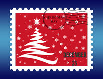 Christmas Stamp. On the blue background Royalty Free Stock Image