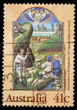 Christmas stamp printed in Australia shows Annunciation to the Shepherds Royalty Free Stock Photos