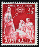 Christmas stamp printed in Australia shows birth of Jesus Christ Royalty Free Stock Images