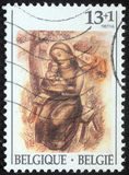 Christmas stamp printed in Belgium shows Madonna and Child Royalty Free Stock Photos