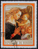 Christmas stamp printed in Burundi shows Madonna and Child Stock Images