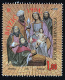 Christmas stamp printed in the Croatia shows birth of Jesus Christ, adoration of the Magi Royalty Free Stock Images