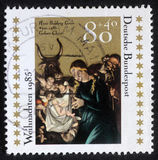 Christmas stamp printed in the Germany shows Christmas Creche. GERMANY - CIRCA 1985: A greeting Christmas stamp printed in the Germany shows Christmas Creche royalty free stock photo
