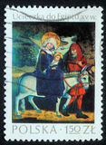 Christmas stamp printed in Poland shows Flight to Egypt Royalty Free Stock Photo