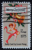 Christmas stamp printed in USA showing angel Royalty Free Stock Photography